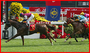 All Thrills Too (7) devance Firebolt (8) dans le Hong Kong Sprint 2002